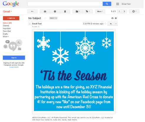 This is an example of a simple graphic email image with a link to your social media for an effective campaign.