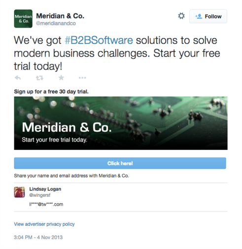 An example from Twitter of a lead generation card.